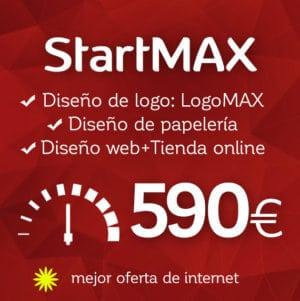 Pack diseño de logotipo, diseño de papelería y diseño de tienda online StartMAX de Logocrea