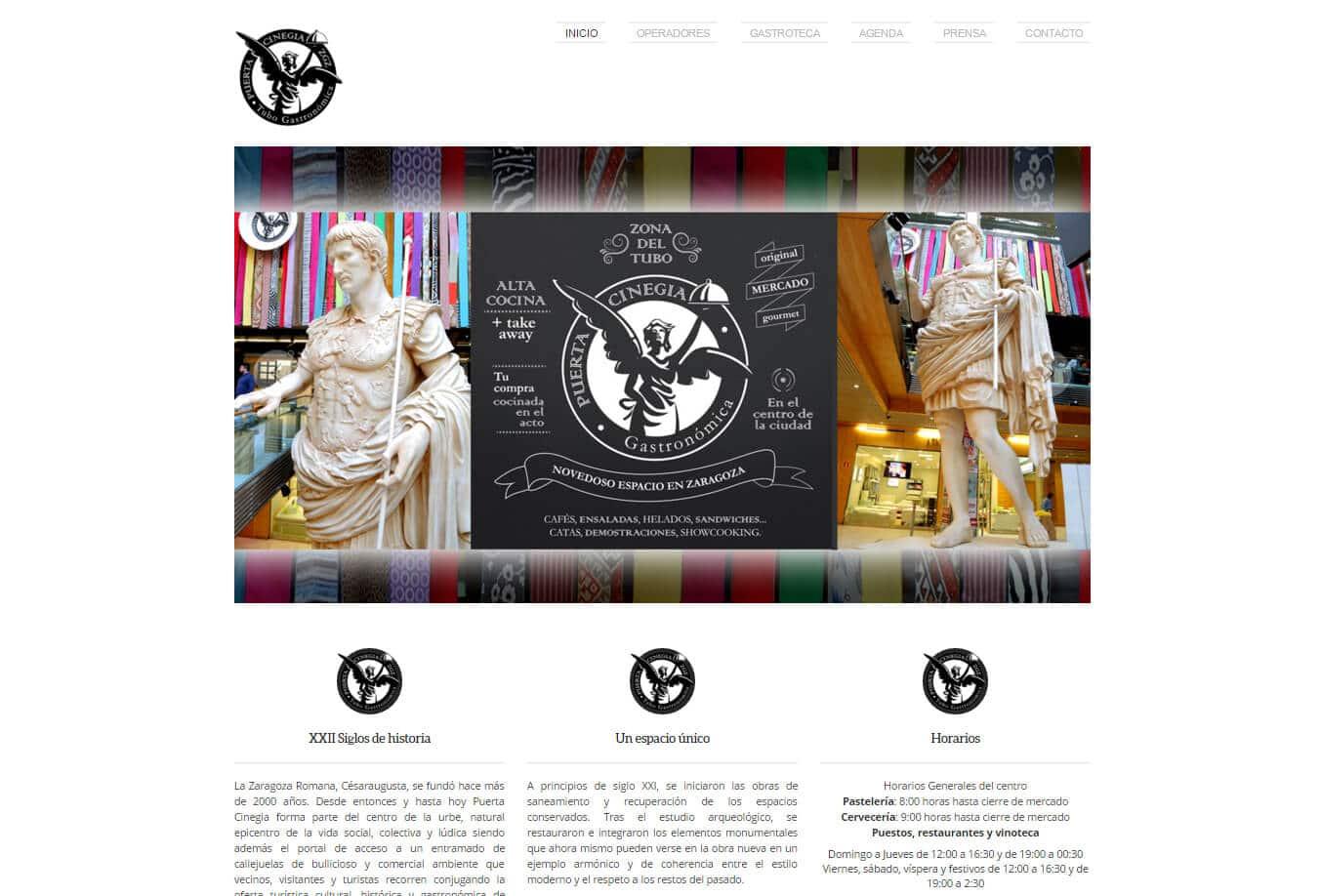 Diseño web minimalista para Puerta Cinegia Gastronómica