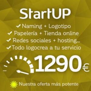 Diseño de logotipo, diseño de tienda online especial y diseño de papelería StartUP de Logocrea
